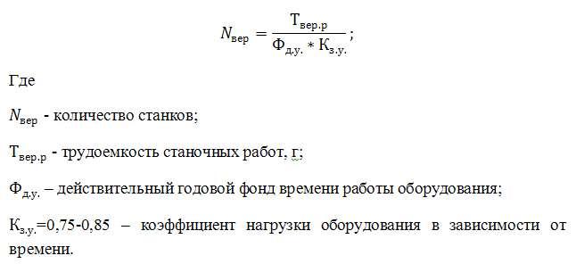 Формула расчета количества оборудования