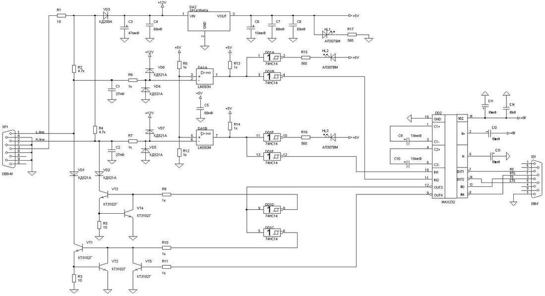 Схема адаптер K-Line